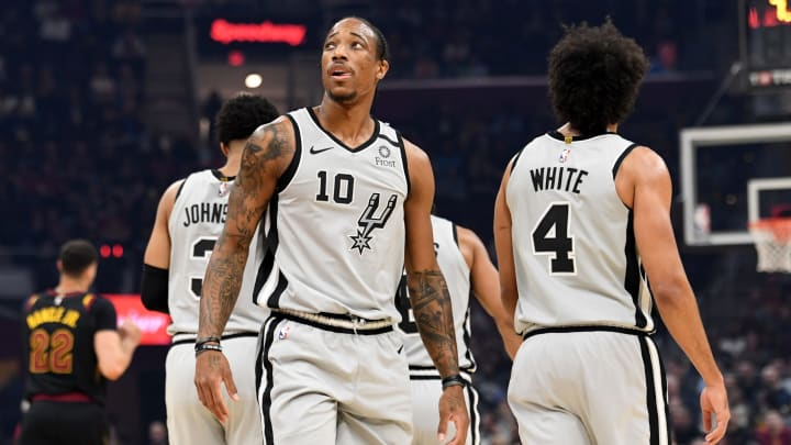 CLEVELAND, OHIO – MARCH 08: DeMar DeRozan #10 of the San Antonio Spurs watches the scoreboard during the first half against the Cleveland Cavaliers at Rocket Mortgage Fieldhouse. (Photo by Jason Miller/Getty Images)