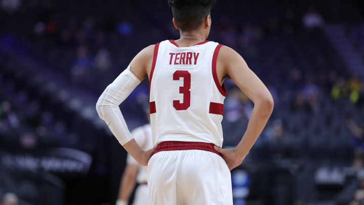 LAS VEGAS, NEVADA – MARCH 11: Tyrell Terry #3 of the Stanford Cardinal looking on just before taking on the California Golden Bears during the first round of the Pac-12 Conference basketball tournament at T-Mobile Arena on March 11, 2020 in Las Vegas, Nevada. (Photo by Leon Bennett/Getty Images)