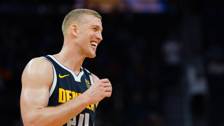 SAN FRANCISCO, CALIFORNIA – JANUARY 16: Mason Plumlee #24 of the Denver Nuggets reacts to a play during the second half against the Golden State Warriors at the Chase Center (Photo by Daniel Shirey/Getty Images)