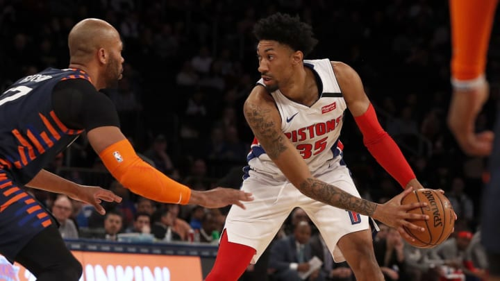 NEW YORK, NEW YORK – MARCH 08: (NEW YORK DAILIES OUT) Christian Wood #35 of the Detroit Pistons in action against Taj Gibson #67 of the New York Knicks at Madison Square Garden. (Photo by Jim McIsaac/Getty Images)