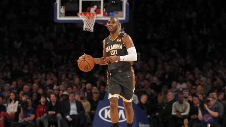 NEW YORK, NEW YORK – MARCH 06: Chris Paul #3 of the Oklahoma City Thunder in action against the New York Knicks at Madison Square Garden on March 06, 2020. (Photo by Jim McIsaac/Getty Images)