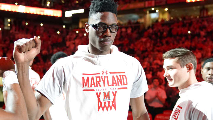 COLLEGE PARK, MD – MARCH 08: NBA Draft prospect Jalen Smith #25 of the Maryland Terrapins is introduced before a college basketball game against the Michigan Wolverines at the Xfinity Center (Photo by Mitchell Layton/Getty Images)