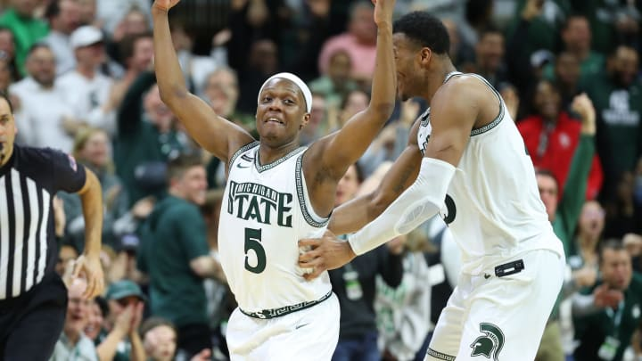 EAST LANSING, MICHIGAN – MARCH 08: NBA Draft prospect Cassius Winston #5 of the Michigan State Spartans celebrates a second half three pointer. (Photo by Gregory Shamus/Getty Images)