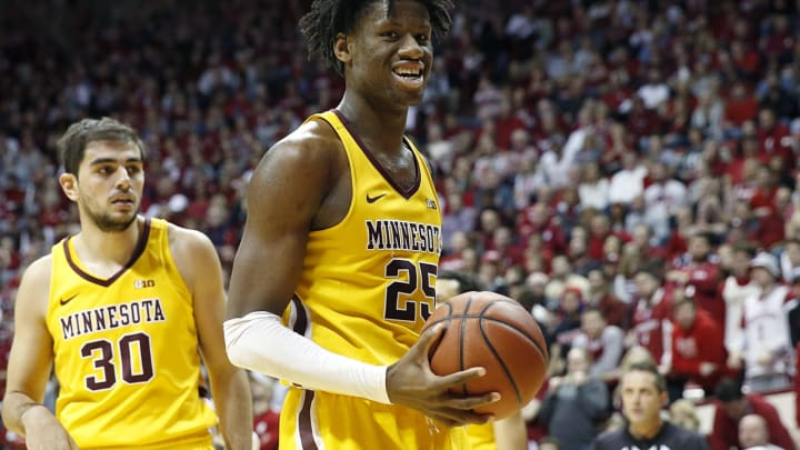 BLOOMINGTON, INDIANA – MARCH 04: Projected late first-round NBA Draft prospect Daniel Oturu #25 of the Minnesota Golden Gophers in action against Indiana at Assembly Hall. (Photo by Justin Casterline/Getty Images)