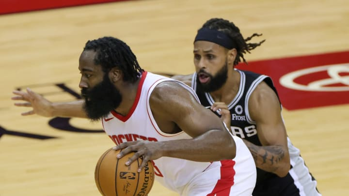 James Harden Patty Mills (Photo by Carmen Mandato/Getty Images)