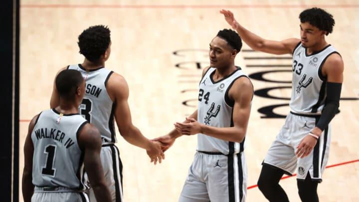 San Antonio Spurs Lonnie Walker Keldon Johnson Devin Vassell (Photo by Abbie Parr/Getty Images)