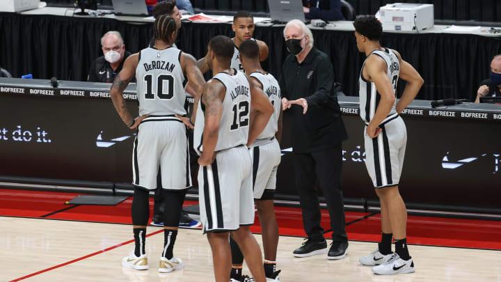 San Antonio Spurs DeMar DeRozan LaMarcus Aldridge Keldon Johnson (Photo by Abbie Parr/Getty Images)
