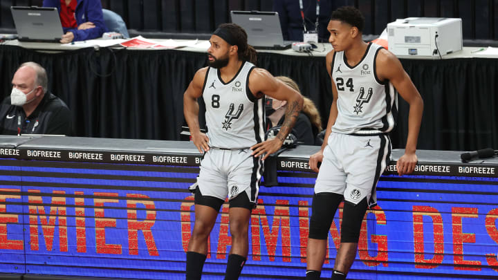 San Antonio Spurs Patty Mills Devin Vassell (Photo by Abbie Parr/Getty Images)