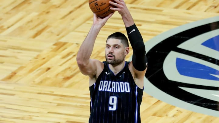 ORLANDO, FL – MARCH 03: Nikola Vucevic #9 of the Orlando Magic shoots the ball against the Atlanta Hawks at Amway Center on March 3, 2021, in Orlando, Florida. Vucevic has been reported as a trade target for the San Antonio Spurs. (Photo by Alex Menendez/Getty Images)
