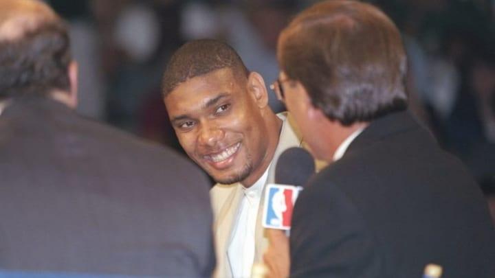25 Jun 1997: Power forward Tim Duncan of the San Antonio Spurs speaks with a reporter during the NBA Draft at the Charlotte Coliseum in Charlotte, North Carolina. Mandatory Credit: Craig Jones /Allsport