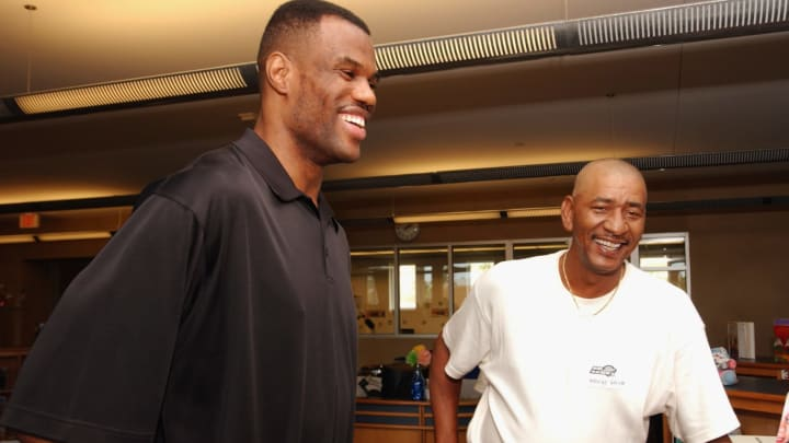 SAN ANTONIO – JUNE 5: David Robinson #50 of the San Antonio Spurs and former Spur, George Gervin #44, attend the dedication of the Spurs Reading and Learning Center (Photo by Andrew D. Bernstein/NBAE via Getty Images)