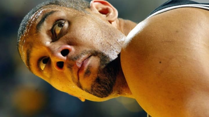INDIANAPOLIS - JANUARY 16: Tim Duncan #21 of the San Antonio Spurs is pictured during the game against the Indiana Pacers on January16, 2004 at Conseco Fieldhouse in Indianapolis, Indiana. Duncan was held to 16 points on 4 of 18 shots from the field during the Pacers 89-79 win.(Photo by Andy Lyons/Getty Images)