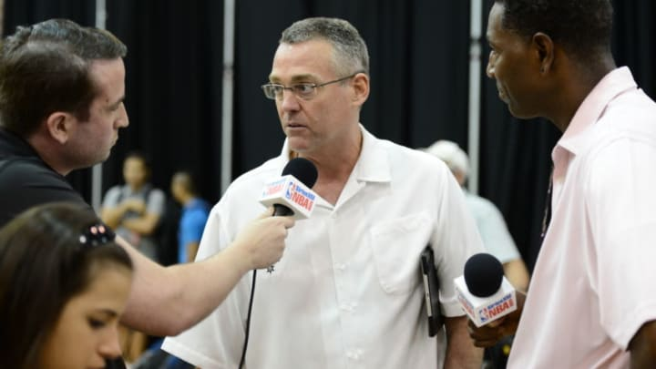 SAN ANTONIO, TX JUNE 6: R.C. Buford, General Manager of the San Antonio Spurs addresses the media during media availability as part of the 2014 NBA Finals on June 6, 2014 at the Spurs Practice Facility in San Antonio, Texas. NOTE TO USER: User expressly acknowledges and agrees that, by downloading and or using this photograph, User is consenting to the terms and conditions of the Getty Images License Agreement. Mandatory Copyright Notice: Copyright 2014 NBAE (Photo by Garrett Ellwood/NBAE via Getty Images)