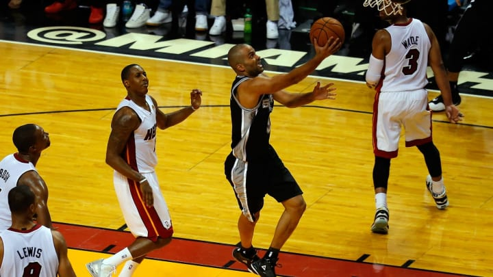 MIAMI, FL – JUNE 10: Tony Parker #9 of the San Antonio Spurs goes up for a layup against the Miami Heat during Game Three of the 2014 NBA Finals at American Airlines Arena (Photo by Chris Trotman/Getty Images)