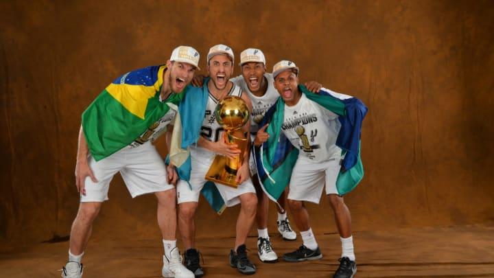 Tiago Splitter, Manu Ginobili, Boris Diaw and Patty Mills of the San Antonio Spurs. (Photo by Jesse D. Garrabrant/NBAE via Getty Images)