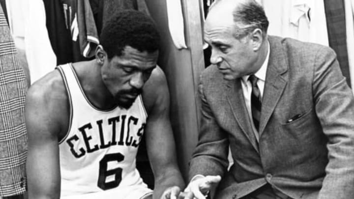 BOSTON, MI – 1970: Head coach Red Auerbach of the Boston Celtics speaks to Bill Russell (Photo by Dick Raphael/NBAE via Getty Images)