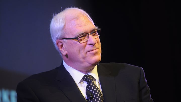 NEW YORK, NY – OCTOBER 12: Basketball coach Phil Jackson speak on stage at the MasterCard stage at SVA Theatre during The New Yorker Festival in 2014. (Photo by Brad Barket/Getty Images for The New Yorker Festival)