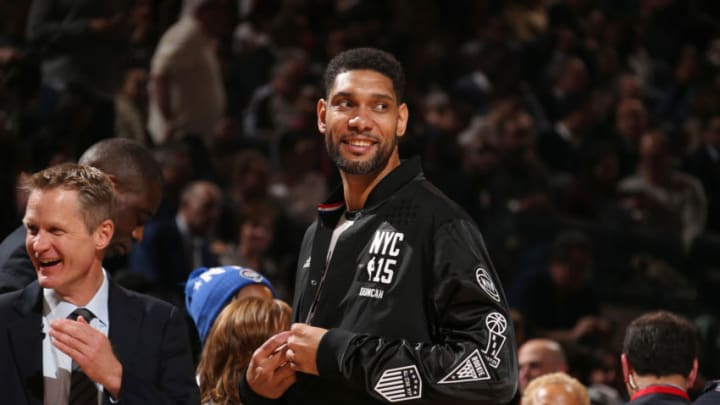 NEW YORK, NY - FEBRUARY 15: Tim Duncan #21 of the Western Conference All-Star Team smiles during the 64th NBA All-Star Game presented by Kia as part of the 2015 NBA All-Star Weekend on February 15, 2015 at Madison Square Garden in New York, New York. NOTE TO USER: User expressly acknowledges and agrees that, by downloading and/or using this photograph, user is consenting to the terms and conditions of the Getty Images License Agreement. Mandatory Copyright Notice: Copyright 2015 NBAE (Photo by Nathaniel S. Butler/NBAE via Getty Images)