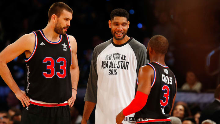 NEW YORK, NY – FEBRUARY 15: (NEW YORK DAILIES OUT) Marc Gasol #33, Tim Duncan #21 and Chris Paul #3 of the Western Conference talk during a break against the Eastern Conference during the 2015 NBA All-Star Game at Madison Square Garden on February 15, 2015 in New York City. The Western Conference defeated the Eastern Conference Knicks 163-158. (Photo by Jim McIsaac/Getty Images)