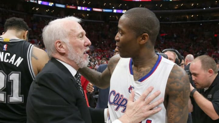 LOS ANGELES, CA - MAY 02: Head coach Gregg Popovich of the San Antonio Spurs and jamal Crawford