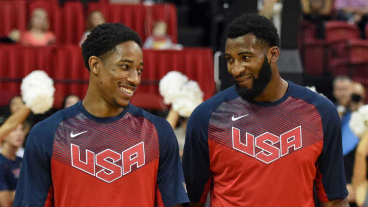 LAS VEGAS, NV - AUGUST 13: DeMar DeRozan #26 (L) and Andre Drummond #25 of the 2015 USA Basketball Men's National Team talk on the court before a USA Basketball showcase at the Thomas & Mack Center on August 13, 2015 in Las Vegas, Nevada. (Photo by Ethan Miller/Getty Images)
