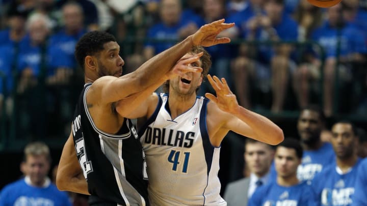 DALLAS, TX – APRIL 26: Tim Duncan #21 of the San Antonio Spurs blocks Dirk Nowitzki #41 of the Dallas Mavericks during Game Three of the Western Conference Quarterfinals during Playoffs (Photo by Tom Pennington/Getty Images)