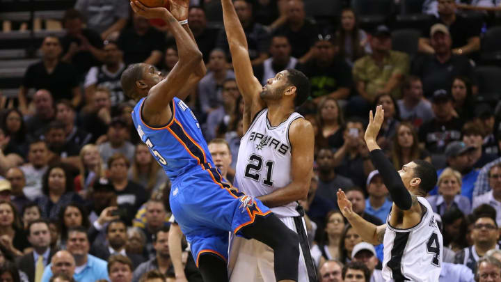 SAN ANTONIO, TX – MAY 21: Kevin Durant #35 of the Oklahoma City Thunder has his shot blocked by Tim Duncan #21 of the San Antonio Spurs in Game Two of the Western Conference Finals. (Photo by Ronald Martinez/Getty Images)