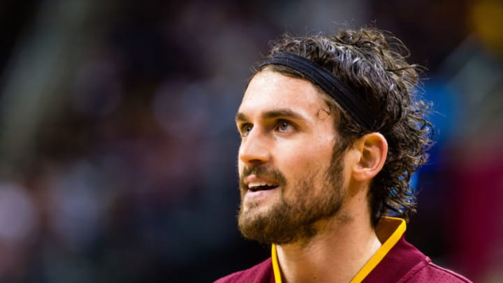 CLEVELAND, OH - JANUARY 30: Kevin Love #0 of the Cleveland Cavaliers warms up on the court prior to the game against the San Antonio Spurs at Quicken Loans Arena on January 30, 2016 in Cleveland, Ohio. NOTE TO USER: User expressly acknowledges and agrees that, by downloading and/or using this photograph, user is consenting to the terms and conditions of the Getty Images License Agreement. Mandatory copyright notice. (Photo by Jason Miller/Getty Images)