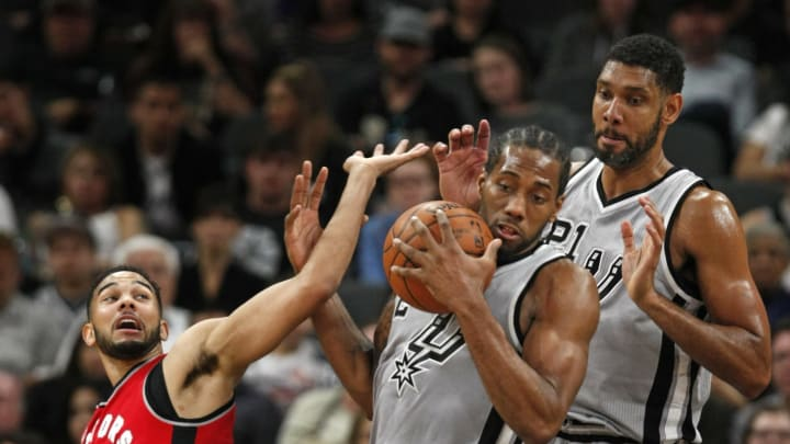 SAN ANTONIO, TX – APRIL 2: Kawhi Leonard #2 and Cory Joseph #6 both landed with the San Antonio Spurs in 2011 and faced off at the AT&T Center in 2016. (Photo by Ronald Cortes/Getty Images)
