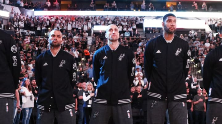 SAN ANTONIO,TX - APRIL 19: Tony Parker #9 of the San Antonio Spurs,Manu Ginobili #20 of the San Antonio Spurs, and Tim Duncan #21 of the San Antonio Spurs before their game against the Memphis Grizzlies of game two of the Western Conference Quarterfinals during the 2016 NBA Playoffs at AT&T Center on April 19, 2016 in San Antonio, Texas. NOTE TO USER: User expressly acknowledges and agrees that , by downloading and or using this photograph, User is consenting to the terms and conditions of the Getty Images License Agreement. (Photo by Ronald Cortes/Getty Images)