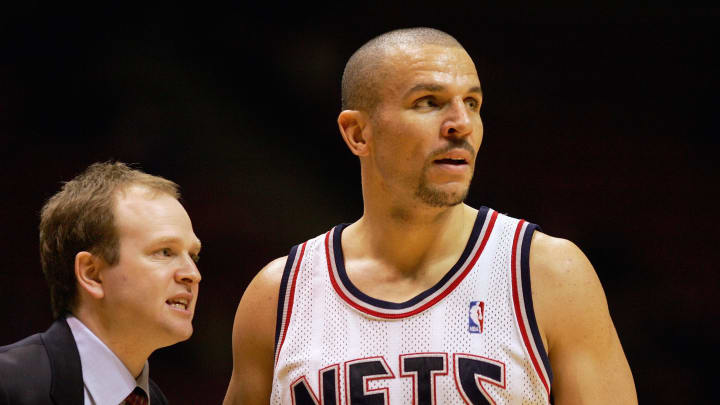 EAST RUTHERFORD, NJ – DECEMBER 14: Head Coach Lawrence Frank and Jason Kidd #5 of the New Jersey Nets look on from the sideline during a game against the New York Knicks in 2004 (Photo by Ezra Shaw/Getty Images)