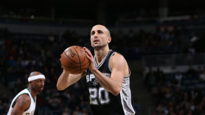 Milwaukee, WI – DECEMBER 5: Manu Ginobili #20 of the San Antonio Spurs shoots a free throw during a game against the Milwaukee Bucks on December 5, 2016 at the BMO Harris Bradley Center in Milwaukee, Wisconsin. NOTE TO USER: User expressly acknowledges and agrees that, by downloading and/or using this photograph, user is consenting to the terms and conditions of the Getty Images License Agreement. Mandatory Copyright Notice: Copyright 2016 NBAE (Photo by Gary Dineen/NBAE via Getty Images)