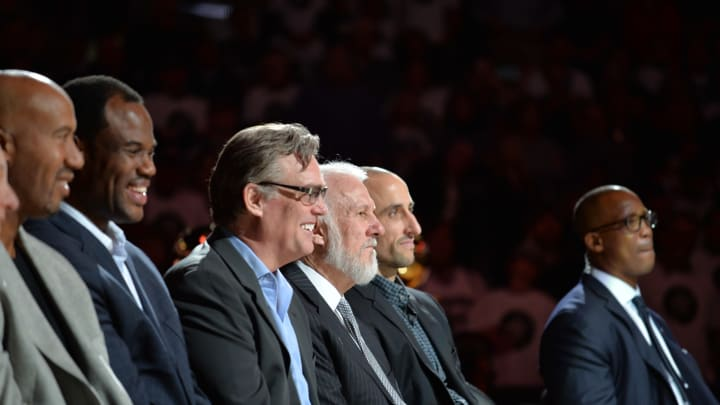 SAN ANTONIO, TX – DECEMBER 18: David Robinson, R.C Buford, Gregg Popovich and Manu Ginobili #20 of the San Antonio Spurs are seen at the ceremony honoring NBA Legend Tim Duncan at his jersey retirement ceremony on December 18, 2016 at the AT&T Center in San Antonio, Texas. (Photos by Mark Sobhani/NBAE via Getty Images)