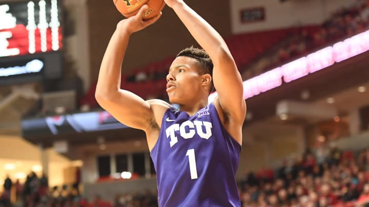 LUBBOCK, TX – JANUARY 18: NBA Draft prospect Desmond Bane #1 of the TCU Horned Frogs shoots the ball during the game against the Texas Tech Red Raiders at United Supermarkets Arena. (Photo by John Weast/Getty Images)