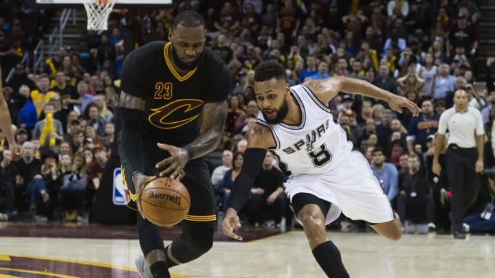 CLEVELAND, OH – JANUARY 21: LeBron James #23 of the Cleveland Cavaliers and Patty Mills #8 of the San Antonio Spurs scrap at Quicken Loans Arena on January 21, 2017, in Cleveland, Ohio. (Photo by Jason Miller/Getty Images)