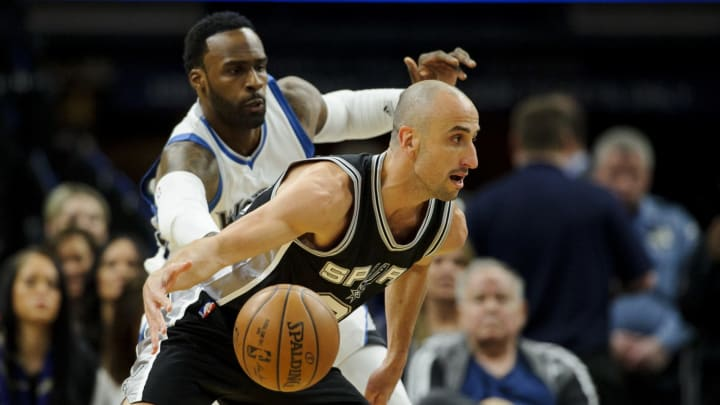 MINNEAPOLIS, MN – MARCH 21: Shabazz Muhammad #15 of the Minnesota Timberwolves defends against Manu Ginobili #20 of the San Antonio Spurs during the first quarter of a game (Photo by Hannah Foslien/Getty Images)