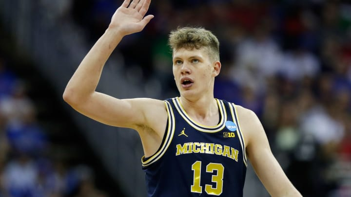 San Antonio Spurs, KANSAS CITY, MO – MARCH 23: Moritz Wagner #13 of the Michigan Wolverines reacts against the Oregon Ducks during the 2017 NCAA Men's Basketball Tournament Midwest Regional at Sprint Center on March 23, 2017 in Kansas City, Missouri. (Photo by Jamie Squire/Getty Images)