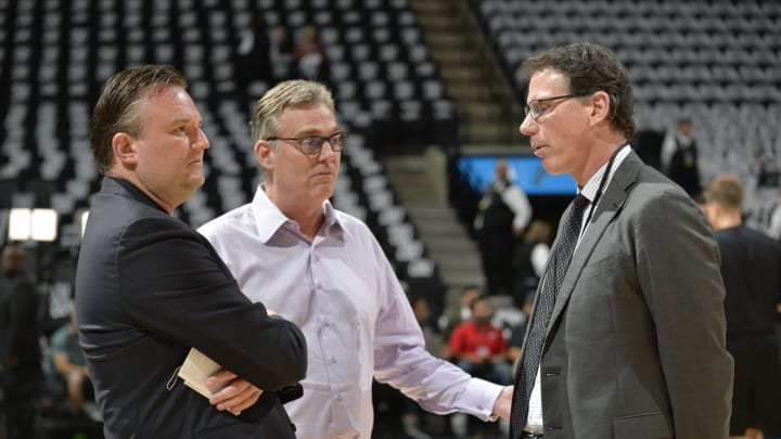 SAN ANTONIO, TX – MAY 1: Daryl Morey, General Manager of the Houston Rockets, R.C. Buford, General Manager of the San Antonio Spurs and Kiki Vandeweghe, Vice President of Basketball Operations at the NBA chat (Photo by Mark Sobhani/NBAE via Getty Images)