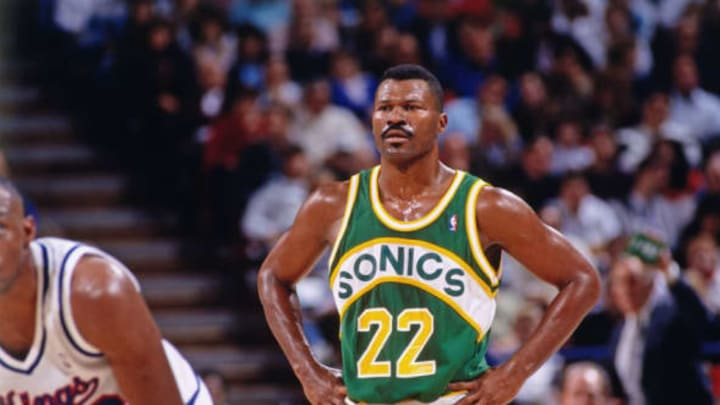 SACRAMENTO, CA – 1993: Ricky Pierce #22 of the Seattle SuperSonics looks on against the Sacramento Kings circa 1993 at Arco Arena in Sacramento, California. NOTE TO USER: User expressly acknowledges and agrees that, by downloading and or using this photograph, User is consenting to the terms and conditions of the Getty Images License Agreement. Mandatory Copyright Notice: Copyright 1993 NBAE (Photo by Rocky Widner/NBAE via Getty Images)
