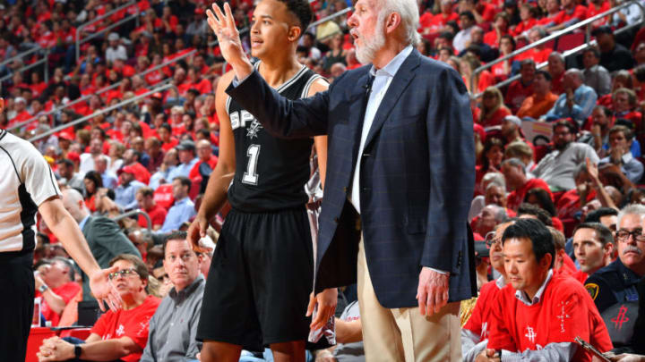 HOUSTON, TX - MAY 11: Gregg Popovich of the San Antonio Spurs talks with Kyle Anderson