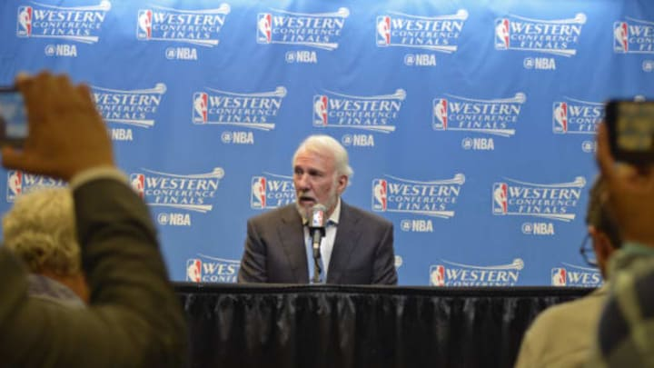 SAN ANTONIO, TX – MAY 22: Gregg Popovich of the San Antonio Spurs talks to the media during a press conference after Game Four of the Western Conference Finals against the Golden State Warriors during the 2017 NBA Playoffs on May 22, 2017 AT