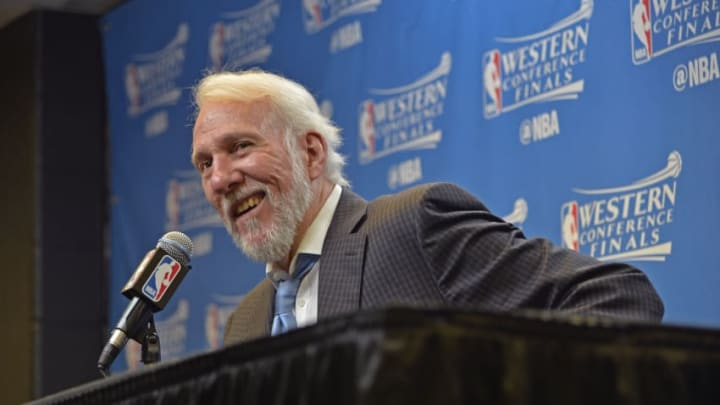 SAN ANTONIO, TX - MAY 22: Gregg Popovich of the San Antonio Spurs talks to the media during a press conference after Game Four of the Western Conference Finals against the Golden State Warriors during the 2017 NBA Playoffs on May 22, 2017 AT