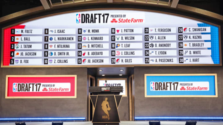 BROOKLYN, NY - JUNE 22: A shot of the first round draft board during the 2017 NBA Draft on June 22, 2017 at Barclays Center in Brooklyn, New York. NOTE TO USER: User expressly acknowledges and agrees that, by downloading and or using this photograph, User is consenting to the terms and conditions of the Getty Images License Agreement. Mandatory Copyright Notice: Copyright 2017 NBAE (Photo by Nathaniel S. Butler /NBAE via Getty Images)