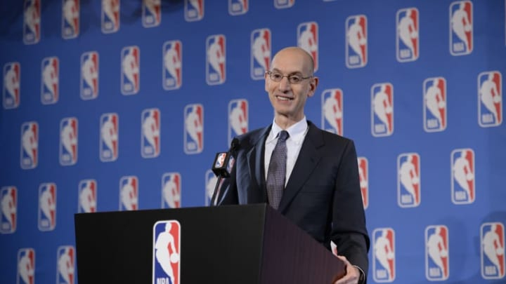 LAS VEGAS, NV - JULY 12: NBA Commissioner Adam Silver speaks to the media to discuss the Board of Governors meetings on July 12, 2017 at the Wynn Hotel in Las Vegas, Nevada. NOTE TO USER: User expressly acknowledges and agrees that, by downloading and/or using this photograph, user is consenting to the terms and conditions of the Getty Images License Agreement. Mandatory Copyright Notice: Copyright 2017 NBAE (Photo by David Dow/NBAE via Getty Images)