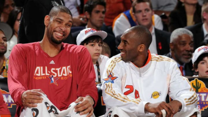 PHOENIX – FEBRUARY 15: (L-R) Tim Duncan #21 and Kobe Bryant #24 of the Western Conference sit on the bench during the 58th NBA All-Star Game, part of 2009 NBA All-Star Weekend (Photo by Andrew D. Bernstein/NBAE/Getty Images)