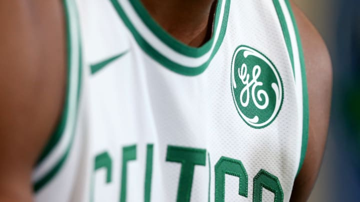 CANTON, MA – SEPTEMBER 25: A detail of the General Electric logo on the jersey of the Boston Celtics' during Media Day at High Output Studios on September 25, 2017 in Canton, Massachusetts. (Photo by Maddie Meyer/Getty Images)
