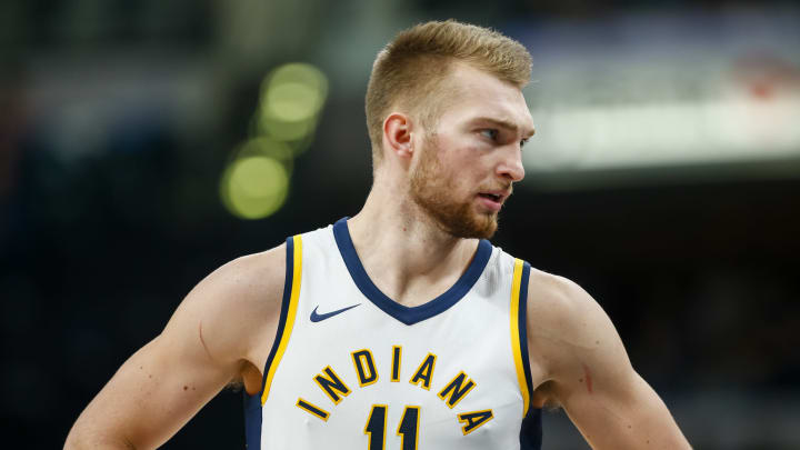 INDIANAPOLIS, IN – OCTOBER 29: Domantas Sabonis #11 of the Indiana Pacers is seen during the game against the San Antonio Spurs at Bankers Life Fieldhouse. (Photo by Michael Hickey/Getty Images)