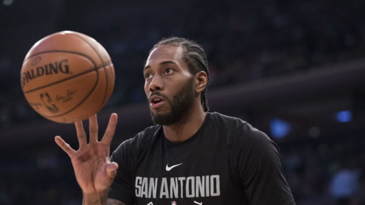NEW YORK, NY - JANUARY 02: Kawhi Leonard #2 of the San Antonio Spurs warms up before the game against the New York Knicks at Madison Square Garden on January 02, 2018 in New York City. NOTE TO USER: User expressly acknowledges and agrees that, by downloading and or using this photograph, User is consenting to the terms and conditions of the Getty Images License Agreement. (Photo by Matteo Marchi/Getty Images)