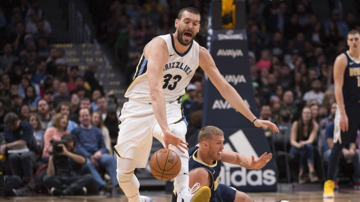 DENVER, CO – JANUARY 12: Marc Gasol #33 of the Memphis Grizzlies and Mason Plumlee #24 of the Denver Nuggets battle for a loose ball at Pepsi Center on January 12, 2018 (Photo by Jamie Schwaberow/Getty Images)