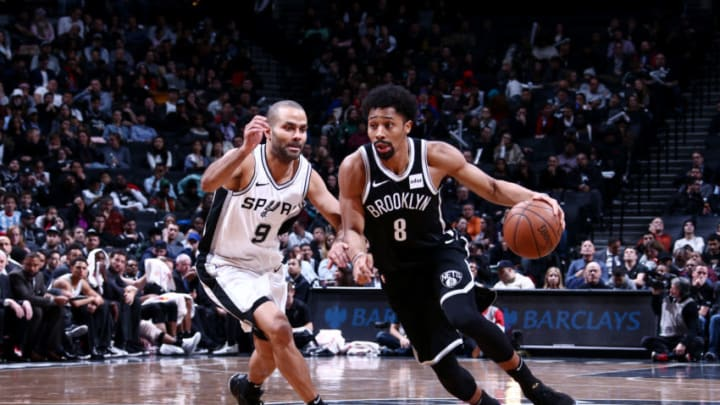 BROOKLYN, NY - JANUARY 17: Spencer Dinwiddie #8 of the Brooklyn Nets handles the ball during the game against the San Antonio Spurs on January 17, 2018 at Barclays Center in Brooklyn, New York. NOTE TO USER: User expressly acknowledges and agrees that, by downloading and or using this Photograph, user is consenting to the terms and conditions of the Getty Images License Agreement. Mandatory Copyright Notice: Copyright 2018 NBAE (Photo by Nathaniel S. Butler/NBAE via Getty Images)